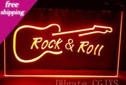 Néon, guitarra, luz on-line-Rock And Roll Guitar Music New Beer Bar Pub Sign Club 3D Sinais Led Neon Light