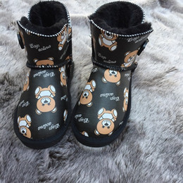 schnee im winter halten warme schuhe stiefel Rabatt Baby-Mädchen-Schnee-Aufladung 2020 Winter Fashion Bär Patter Printed Schuhe Kinder beiläufige Winter Outdoor Schuhe Kinder Warmhalte Boots