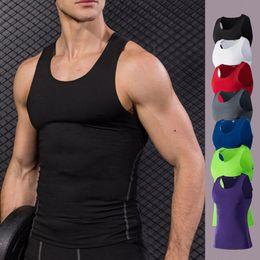 HONGBI Mens Tank Top Summer Sports Sleeveless Vest T-Shirt Workout Gym Elastic Force Vest Casual Wear Quick Drying Running Gym Vest