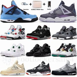Graue orange basketballschuhe online-Nike Air Jordan  Sail Jumpman 4 4s Männer Basketball-Schuhe Neon Black Cat Was Der Winter Cool Gray metallic lila Bred Laufschuhe Sport-Turnschuhe