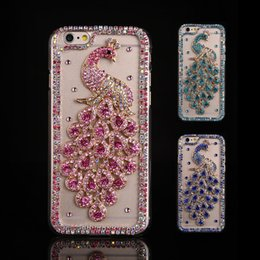 caixa do telefone do diamante do pavão Desconto Caso Rhinestone pavão para o iPhone 11 Pro Max Bling diamante tampa do telefone coque para iPhone Xs Max XR X 8/7 6s / 6 Plus 5s