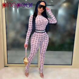 sexy sehen durch overalls Rabatt PinePear See durch Netz Crescent Moon Druck Strampler Frauen Overall Langarm Sexy Party Club Fashion Outfits Drop T200810