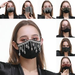 Baumwolltuch tücher online-Black Protection Reusable Mascarilla Cotton Cloth Face Mask Dustproof Water Drop Tassels Mouth Respirator Breathable Jewel Adults 16 5rg B2