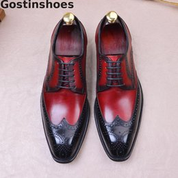 Zapatos de punta de los hombres online-Mixed Color Brouge Shoes For Men Genuine Leather Wing Tip Cut-out Toe Lace-up Men Dress Shoes Formal Derby Wedding Office