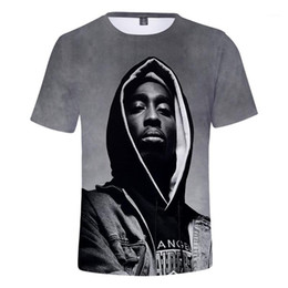 2020 t-shirts 2pac Homme T-shirts 2pac RIP imprimé Hommes T-shirts à manches courtes Hiphop O Neck Tops Mens 3D Rapper Fashion t-shirts 2pac pas cher