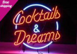 I cocktail sognano il segno al neon online-Cocktails &Dreams Neon Sign Custom Handmade Store Shop Bar Disco Ktv Advertisement Display Decoration Real Glass Tube Neon Signs 17 X14