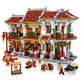 Chinesisches modell spielzeug online-Mini DIY bauen zusammen Building Blocks Strasse Ort China Straße Chinese Traditional House Model Kit Figuren Bricks Spielzeug für Chilren