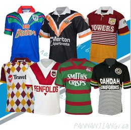 Vaqueros camisetas online-Retro Rugby League Jersey Panthers Broncos Knight Warrior Melbourne West Tiger Conejos Cowboys George Classic Vintage T Shirts