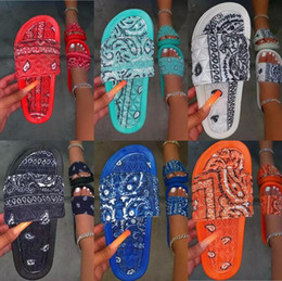 Pantofola interna di estate delle donne online-Pantofole da donna Comfy Bandana Slip-on Pantofole Slip-on Scivolo per interni Flip-flip-flops Shoes Shood Shoes Summer Toe Flip flops antischiuma Spedizione gratuita