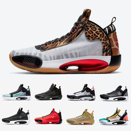 Homens sapatilhas leopardo on-line-Nike Air Jordan retro 34 Jumpman 34 Men Basketball Shoes XXXIV Rui Hachimura X Heritage 34s Infrared 23 Zoo Noah Snow Leopard Black Cat Crispy Mens sports sneakers
