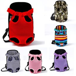 eslingas para cães de estimação Desconto 12 projetos Pet Carrier para o cão do gato bolsa frontal no peito Backpack Cinco Buracos lona do filhote de cachorro ao ar livre portáteis Supplies Travel Bag Tote Bag Pet
