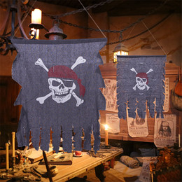Crossbones do crânio da bandeira on-line-Festivais Bandeira de pirata Crossbones do crânio Retro Vintage Fabric Jolly Roger Flags Party Decoration Local Halloween suprimentos JK1909PH