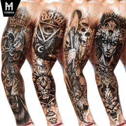 Arm sleeves wolf on-line-Grande Arm Sleeve Lion Tattoo Crown King Rose Waterproof Temporária Tatoo Etiqueta Wild Wolf Tiger Men completa Crânio Totem Tatto