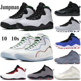 chaussures ailées Promotion Haute qualité Hommes 10 10s Chaussures de basket-ball Jumpman Seattle ailes poudre Formateurs Cool Grey Drake OVO noir blanc Tinker Chicago Sneakers