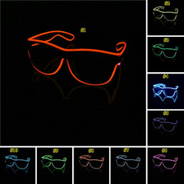 Néon led dj en Ligne-Simple EL lunettes El Fil Mode Neon LED Light Up Shutter en forme de lueur Lunettes de soleil Rave Party Costume DJ Lumineux SunGlasses AHE638