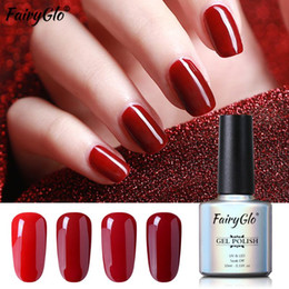 Nackte farbe uv-gel-polnisch online-FairyGlo 10 ml Wein-Rot-Color Gel Polish Nude Series UVnagellack Off-Gel-Nagel Semi Permanent Art Lack tränken