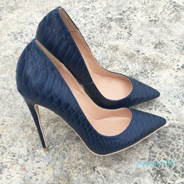 2021 bombas de patente naval Hot Sale-Free shipping fee style Casual Designer navy snake python printed patent point toe high heels shoes pumps bride wedding party shoes