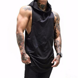 2021 hommes blous manches sans manche men's fitness hoody tank top black white summer sleeveless hoodies tees muscle workout Singlet t shirt fz0649 promotion hommes blous manches sans manche