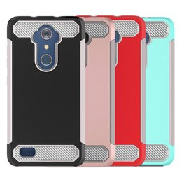 зарядные устройства Скидка Для ZTE Max XL Case Carbon Fiber Hybird Soft TPU Hard PC Back Cover Case Phone