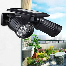 Duas lâmpadas de parede on-line-LED Wall Light Outdoor Solar Power Dual-cabeça da lâmpada Sensor com controle do corpo humano Light Sensor preto Lamp LED decorativa para exterior