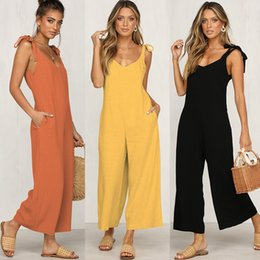 Mamelucos del mono de la pierna ancha online-2020 Loose Jumpsuits Solid Black Wide Leg Casual Pantsuits Daily Sexy Open Back Rompers Yellow Orange Jumpsuit eDressU SJ-CF1862