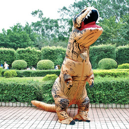 disfraces de dinosaurios inflables para adultos. Rebajas Traje de Cosplay de la mascota del traje inflable adultos disfraces de dinosaurio T REX Blow Up Fancy Dress Party Hombres Mujeres Joven de dibujos animados Dino