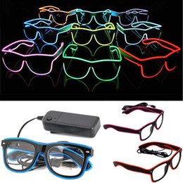 Néon led dj en Ligne-Simple EL lunettes El Fil Mode Neon LED Light Up Shutter en forme de lueur Lunettes de soleil Rave Party Costume DJ Lumineux SunGlasses DHE637