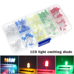 diode électroluminescente menée 3mm Promotion 100pcs (5 couleurs x 20pcs) 5 mm 3 mm LED Light Emitting Diode ronde couleurs assorties Blanc / Rouge / Jaune / Vert / Bleu Boîte Kit KQS8