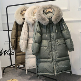 Manteaux à capuchon en fourrure de renard en Ligne-Winter 90% White Duck Down Parka Women Warm Large Real Natural Fox Fur Collar Hooded Long Thicken Jackets And Coats Down Outwear T200905