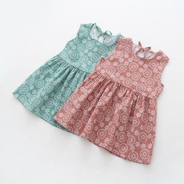 Simples robes une pièce d'été en Ligne-Deux couleurs bébé enfants filles manches One Piece Dress Imprimer filles bowknot Tutu vêtements d'été habiller style simple de la mode July30