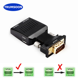 poder ps4 Rebajas Trumsoon VGA al adaptador con cables de audio Power Line VGA2 720 / 1080p para HDTV PC Monitor Proyector Laptops PS4 DVD