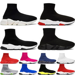2020 flat sole shoes for men New Stylist Geschwindigkeit Socken Freizeitschuhe schwarz weiß Mode-Trainer Runner Triple Black Boots Red Flache schwere alleinige Turnschuhe 36-45 günstig flat sole shoes for men