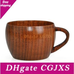 Delicate Wooden Cup Natural Jujube Wood With Handle Coffee Cups Safe Wine Cups Mugs Tumbler Eco Friendly Tea Drinkware Free Ship