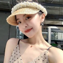Erba rossa superiore online-Lafite grass empty-top Net Pearl sun Red Pearl NO-top hat beach holiday sunshade cap Korean style sun hat