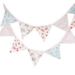 2020 tessuto bandiere Partito Double Sided Bandiera Wedding Decoration Fabric Bunting floreale elegante misero sconti tessuto bandiere