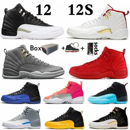 chaussures ailées Promotion Nouveaux air jordan retro 12s FIBA ​​12 inverse Taxi Hommes Basketball Chaussures College Navy Royal Game Bordeaux Gris foncé WNTR Michigan ailes concepteur sneakers sport
