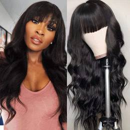 Parrucche glueless vergini online-Parrucche lunghe dell'onda del corpo nero con full bangs vergine brasiliano nessuno parrucca di pizzo 150% Densità Glueless Machine Machine Fashion Black Women 22inches