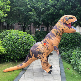 Dinossauro adulto on-line-T-REX Dinosaur Inflatable Costume Suit Outfit Xmas Halloween Dinosaur Adult Party Props Suits Party Gift KKA8048