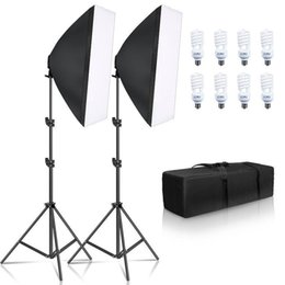 2020 видео свет e27 Фото SOFTBOX Lighting Kit 8 шт E27 45W светодиодные лампы Photo Studio Light оборудование Light Box для Youtube видео T200610 дешево видео свет e27