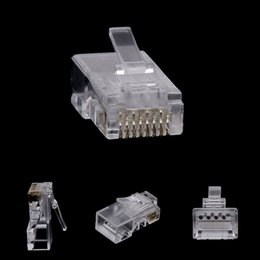 2021 gota rj45 navio 10pcs RJ45 8-Pin Connector CAT6 cabo de rede Ethernet modular Cristal Plugs Gota