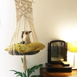 Assento da cama on-line-Balanço Cat Hammock Boho Estilo Gaiola Bed Handmade Cadeira de suspensão do sono Assentos Tassel Cats Toy Play Cotton Rope animais Casa