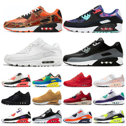 chaussures de course les plus cool Promotion air max 90 Hommes et femmes Chaussures De Course Noir Rouge Blanc Sport Trainer Air Cushion Surface Respirant Sport Hommes Sneakers chaussures 36-46