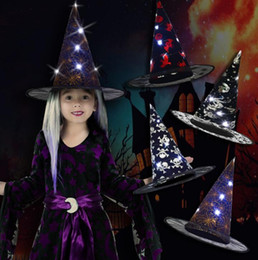 Chapéus aleatórios on-line-Hat Old Party levou luz cor aleatória Up Halloween Hat para Glow Witch Assistente Chapéus Costumes Cap Masquerade Props Party Decoration Ano