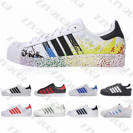 damas zapatos deportivos casuales Rebajas 2020 vendita Originals Superstar bianco Ologramma iridescenti Oro Rosso Superstars 80s Orgoglio Sneakers Super Star signora uomini di sport dei pattini casuali 36-45