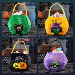 Halloween trick behandeln korb online-Halloween-Kürbis Beuter Trick or Treat Korb Totes Kinderhandtasche Geldbeutel Bat Cat Letters Stickerei Hallowmas Partei-Dekor-Geschenke D9710