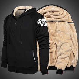Super dicken hoodies online-Herren-Winter-starke Hoodies Pelzfutter super warme Kapuzenjacke Herren Fleece Sweatshirts Reißverschluss-Mantel Plus Size