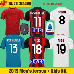 Camisa de milão on-line-20 21 IBRAHIMOVIC AC Milan Soccer Jerseys CALHANOGLU BRAHIM REBIC THEO TONALI Football Shirt ROMAGNOLI Fans Player Version Men Kids Kit