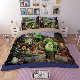 zombie-karikatur 3d Rabatt 3D-Bettwäsche-Set Plants vs Zombies Skelett Heimtextildruck Cartoon Doppel volle Königin King-Size-Decke Abdeckung Bett pillowcase T200415