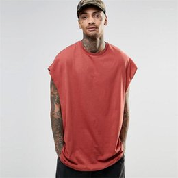 Camisa sin mangas para hombre online-Color sólido Manga de murciélagos Casual Tops de verano Hiphop Hombre High Street Solos T Shirts Street Style Mens Designer Tshirts sin mangas