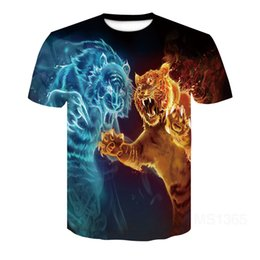 T-shirt imprimé tigre en Ligne-Mens T-shirt imprimé animal 3d Tiger T-shirt à manches courtes Design Amusement T-shirt Top Tee Mens Casual Motif abstrait 3D